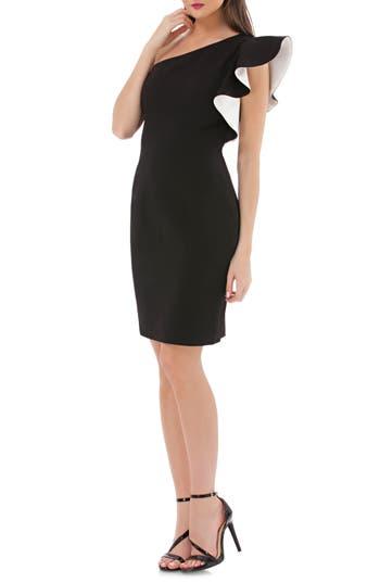 Carmen Marc Valvo Infusion One-Shoulder Contrast Ruffle Cocktail Dress, Black