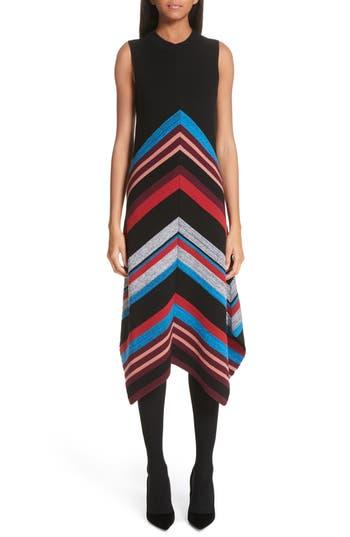 Proenza Schouler Chevron Stripe Wool & Silk Blend Ottoman Dress, Black