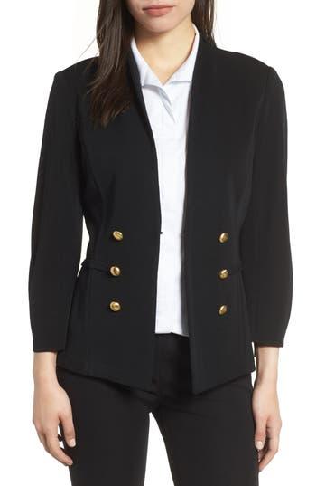 Ming Wang Button Detail Knit Jacket, Black