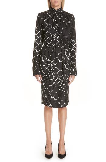 Marc Jacobs Boulder Print Silk Dress, Black