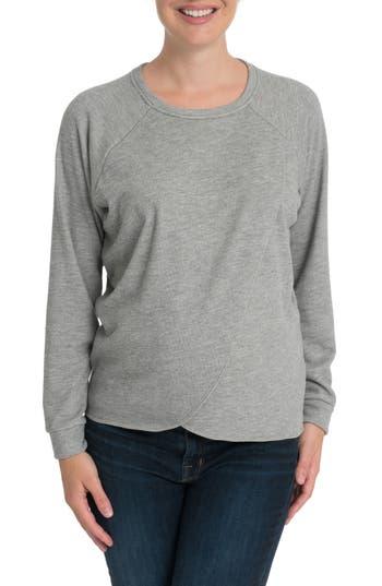 Bun Maternity Tulip Front Maternity/nursing Sweatshirt, Grey