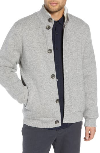 Vince Regular Fit Wool Sweater With Faux Fur Lining, Grey