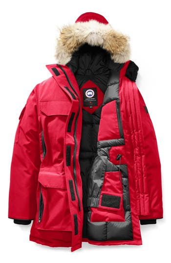 Canada Goose Expedition Hooded Down Parka With Genuine Coyote Fur Trim, Red
