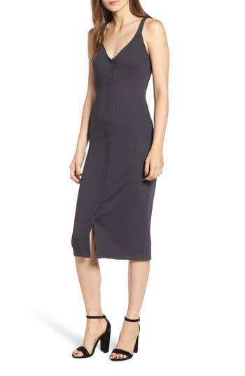 All In Favor Snap Front Rib Knit Midi Dress, Black