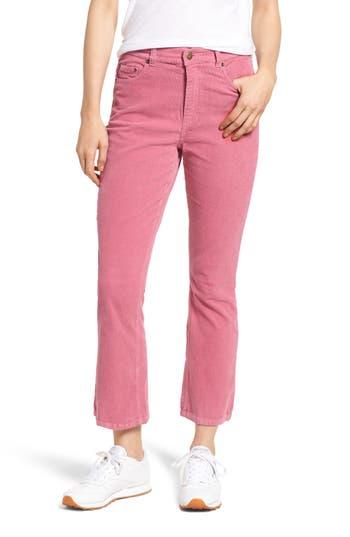 Pam & Gela Corduroy Slim Crop Flare Pants, Pink