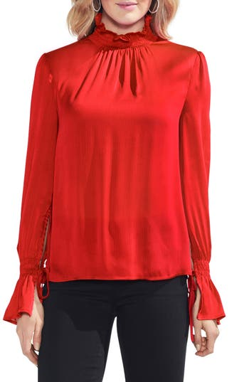 Victorian Blouses, Tops, Shirts, Vests Womens Vince Camuto Tie Flare Cuff Blouse Size XX-Small - Red $89.00 AT vintagedancer.com