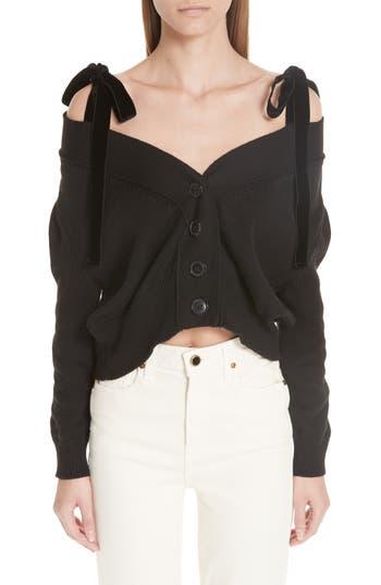 ADEAM Velvet Tie Off The Shoulder Button Cardigan, Black