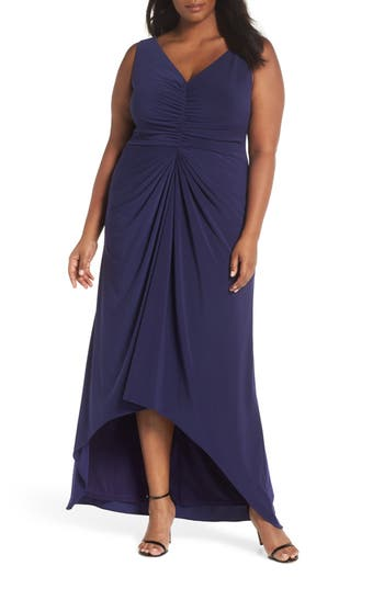 Plus Size Adrianna Papell Draped Jersey Gown, Blue