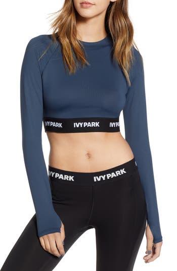 Ivy Park Logo Tape Open Back Crop Top, Blue