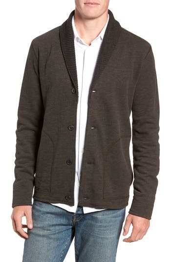 Billy Reid Regular Fit Mouline Cardigan, Black