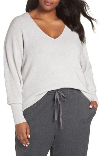 Plus Size Eileen Fisher Boxy Merino Wool Sweater, White