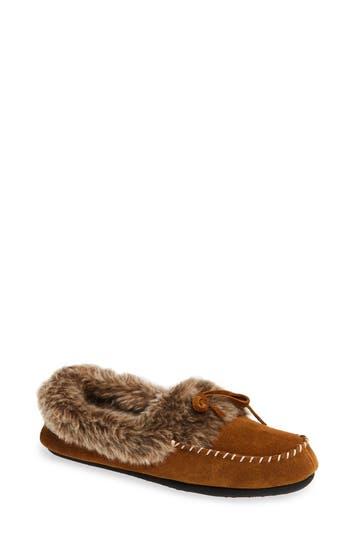 ACORN Faux Fur Trim Moccasin Indoor/Outdoor Slipper, Cognac Suede
