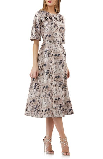Kay Unger FLOWER BUTTON FIT & FLARE MIDI DRESS