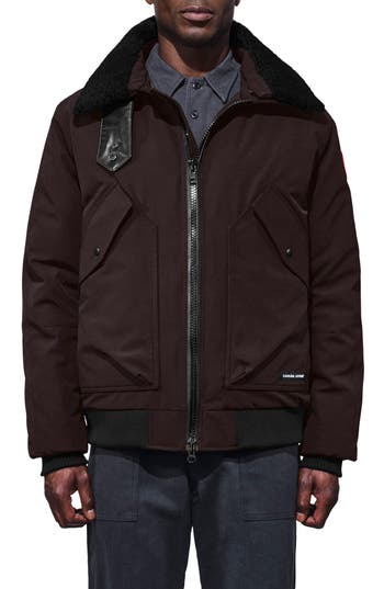 Canada Goose Bromley Down Bomber Jacket With Genuine Shearling Collar, Brown