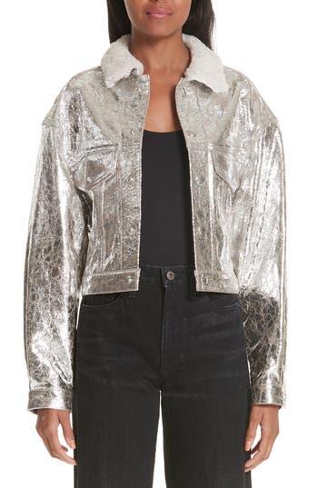 Simon Miller Metallic Leather Jacket With Genuine Shearling Collar, Metallic