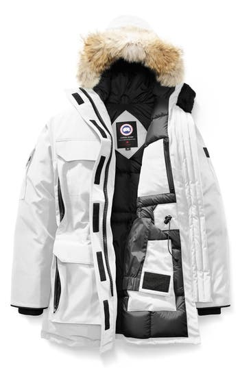 Canada Goose Expedition Hooded Down Parka With Genuine Coyote Fur Trim, (6-8) - White