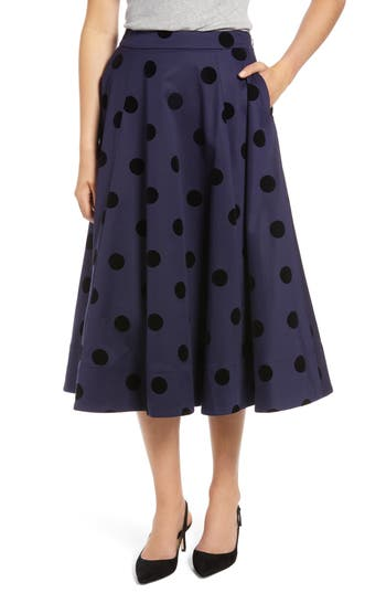 1950s Swing Skirt, Poodle Skirt, Pencil Skirts Petite Womens 1901 Black Dot Circle Stretch Cotton Midi Skirt Size 16P - Blue $53.40 AT vintagedancer.com