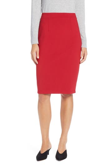 Halogen Ponte Pencil Skirt, Red