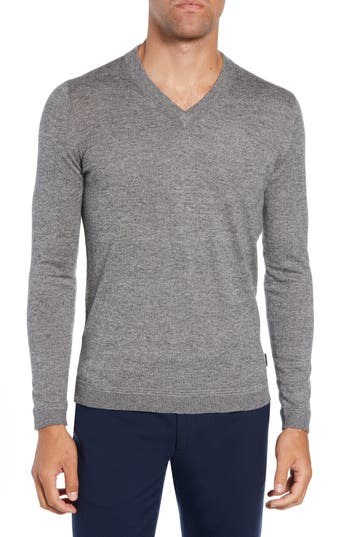 Ted Baker London Noel Slim Fit V-Neck Wool Blend Sweater, (m) - Grey