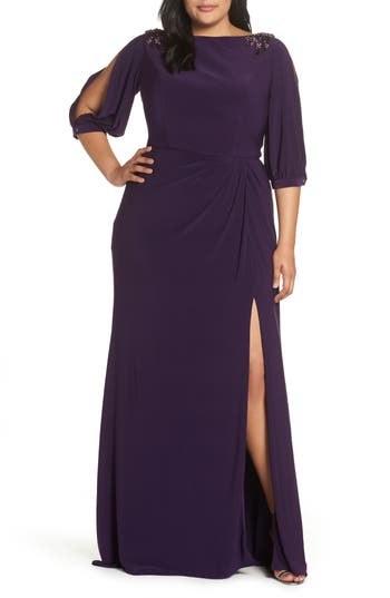 1940s Dresses | 40s Dress, Swing Dress Plus Size Womens MAC Duggal Embellished Split Sleeve Gown Size 24W - Purple $398.00 AT vintagedancer.com