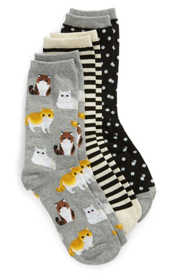 3-Pack Cat Socks, Black