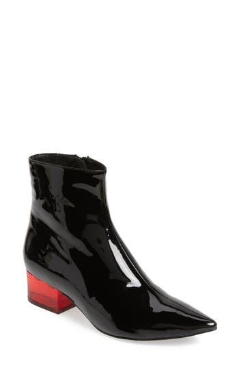 Luminate Bright Heel Bootie, Black Patent Red
