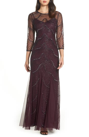 Adrianna Papell Deco Bead Embellished Gown, Purple