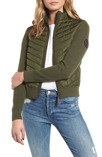 Canada Goose Hybridge Quilted & Knit Jacket, (6-8) - Green