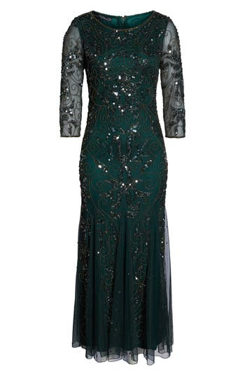 1930s Evening Dresses | Old Hollywood Dress Womens Pisarro Nights Embellished Mesh Gown Size 4 - Green $218.00 AT vintagedancer.com