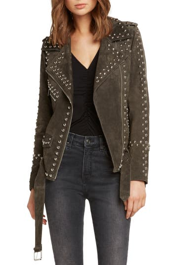 WILLOW & CLAY Studded Suede Moto Jacket in Olive