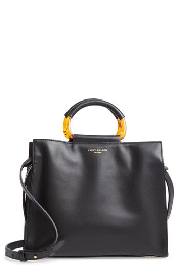 Harriet Leather Box Tote - Black