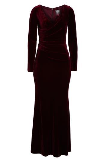 1930s Dresses | 30s Art Deco Dress Vince Camuto Velvet Gown Size 2P - Burgundy $208.00 AT vintagedancer.com