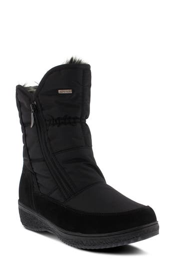 Spring Step Ernestina Waterproof Faux Fur Bootie - Black