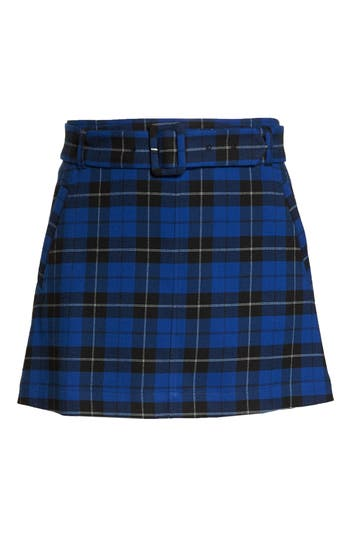 Plus Size Bp. Belted Plaid Skirt, Blue