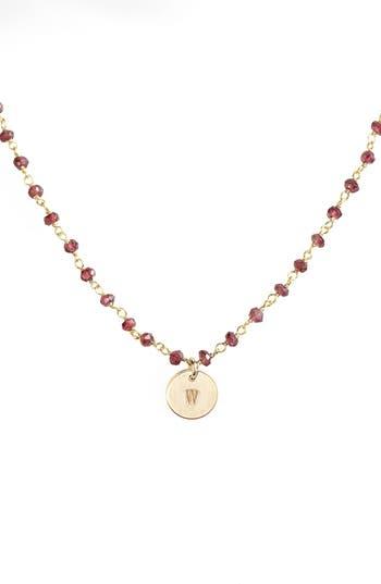 Women's Nashelle 14K-Gold Fill Mini Initial Disc Garnet Chain Necklace