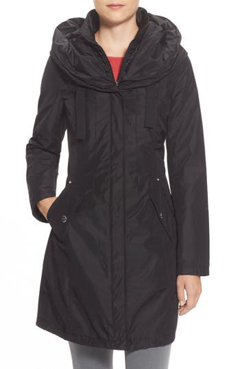 Women's Laundry By Shelli Segal Pillow Collar Raincoat With Detachable Quilted Hooded Bib Insert, Size Small - Black