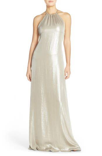 1960s Style Formal Dresses Womens Nouvelle Amsale Deidre Crushed Liquid Chiffon Halter Trapeze Gown Size XX-Large - Pink $149.98 AT vintagedancer.com