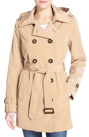 Women's Calvin Klein Double Breasted Trench Coat, Size Medium - Beige
