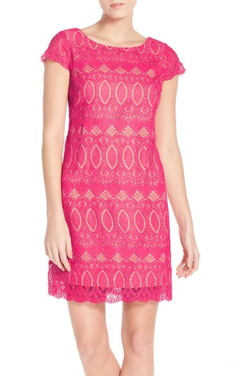 Women's Eliza J Scalloped Lace Sheath Dress, Size 6 - Pink