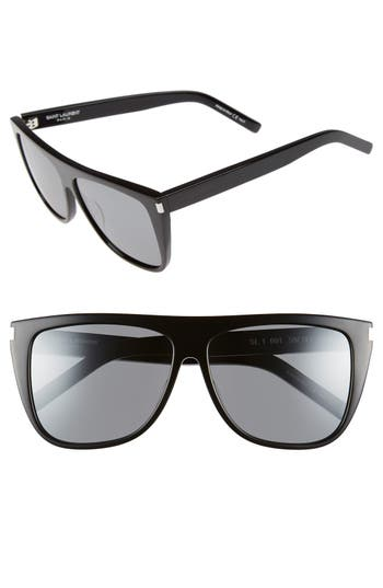 Women's Saint Laurent Sl1 59Mm Flat Top Sunglasses - Black/ Silver