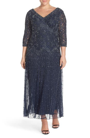 1930s Plus Size Dresses Plus Size Womens Pisarro Nights Beaded V-Neck Lace Illusion Gown Size 14W - Blue $238.00 AT vintagedancer.com