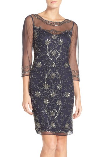 1920s Style Dresses, Flapper Dresses Womens Pisarro Nights Beaded Mesh Sheath Dress Size 16 - Blue $100.80 AT vintagedancer.com
