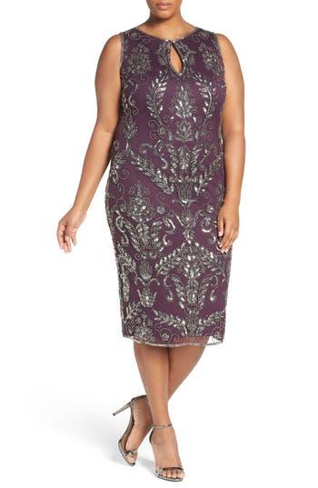 1920s Plus Size Dresses, Gatsby Dresses, Flapper Costumes Pisarro Nights Embellished Tea Length Sheath Dress Size 24W - Purple $188.00 AT vintagedancer.com