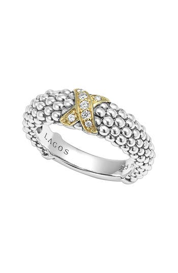 Women's Lagos 'X' Diamond & Caviar-(TM)' Two Tone Ring