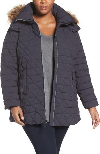 Plus Size Andrew Marc Down Jacket With Faux Fur Trim Hood, Blue