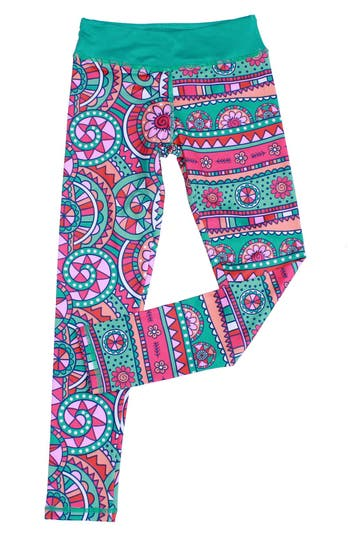 Girl's Chooze 'Cropped' Mixed Print Leggings, Size M (8-10) - Purple