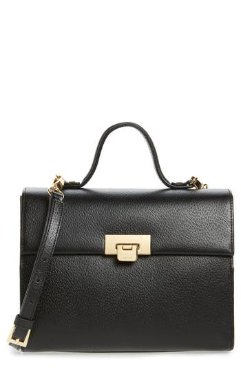 Lodis Stephanie Under Lock & Key - Medium Bree Leather Crossbody Bag - Black