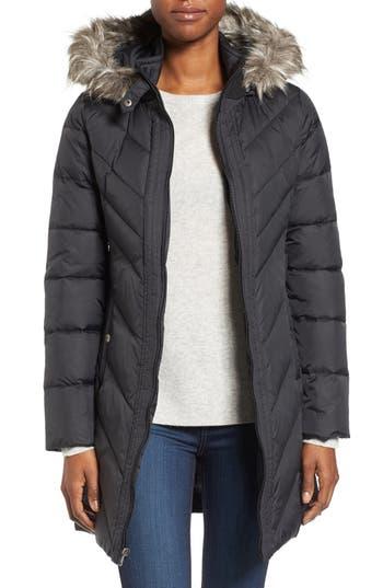 Larry Levine Faux Fur Trim Hooded Jacket