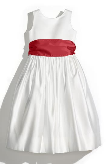 Girl's Us Angels Sleeveless Satin Dress With Contrast Sash, Size 4 - Red