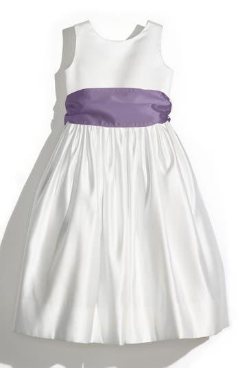 Girl's Us Angels Sleeveless Satin Dress With Contrast Sash, Size 4 - Purple